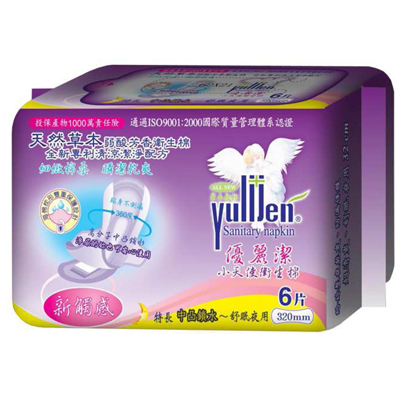 優麗潔 天然草本衛生棉-夜用加長6片 320mm (20包再贈10包)