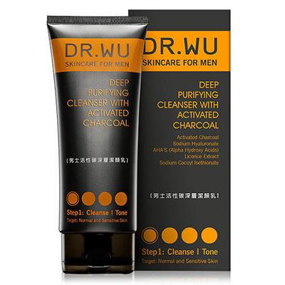 DR.WU达尔肤 男士活性碳深层洁颜乳150ML(短效出清,效期2019/01)