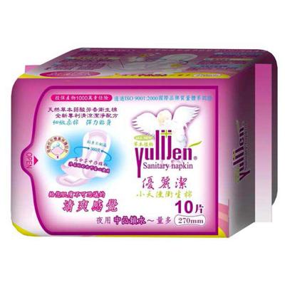優麗潔 天然草本衛生棉-夜用10片 270mm (60包/箱)
