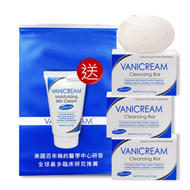 Vanicream薇霓肌本 胺基酸保濕乳霜皂三入組(贈 隨機旅行瓶57g*1)