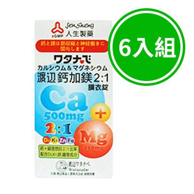 人生製藥 渡邊鈣加鎂2:1膜衣錠 六入組