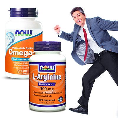 NOW健而婷 順暢保養超值套組(Omega-3深海魚油 精胺酸)